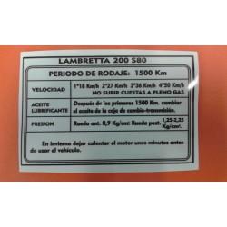 ADHESIVO DE RODAJE LAMBRETTA 200.
